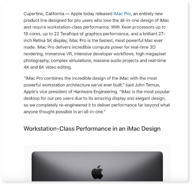Comunicat de presă pentru lansarea produsului Apple