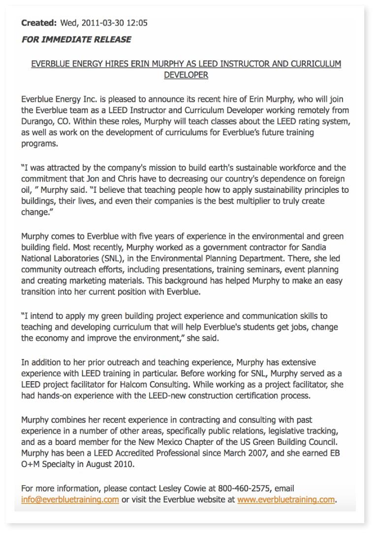 Noul comunicat de presă de angajare de la EverBlue Training