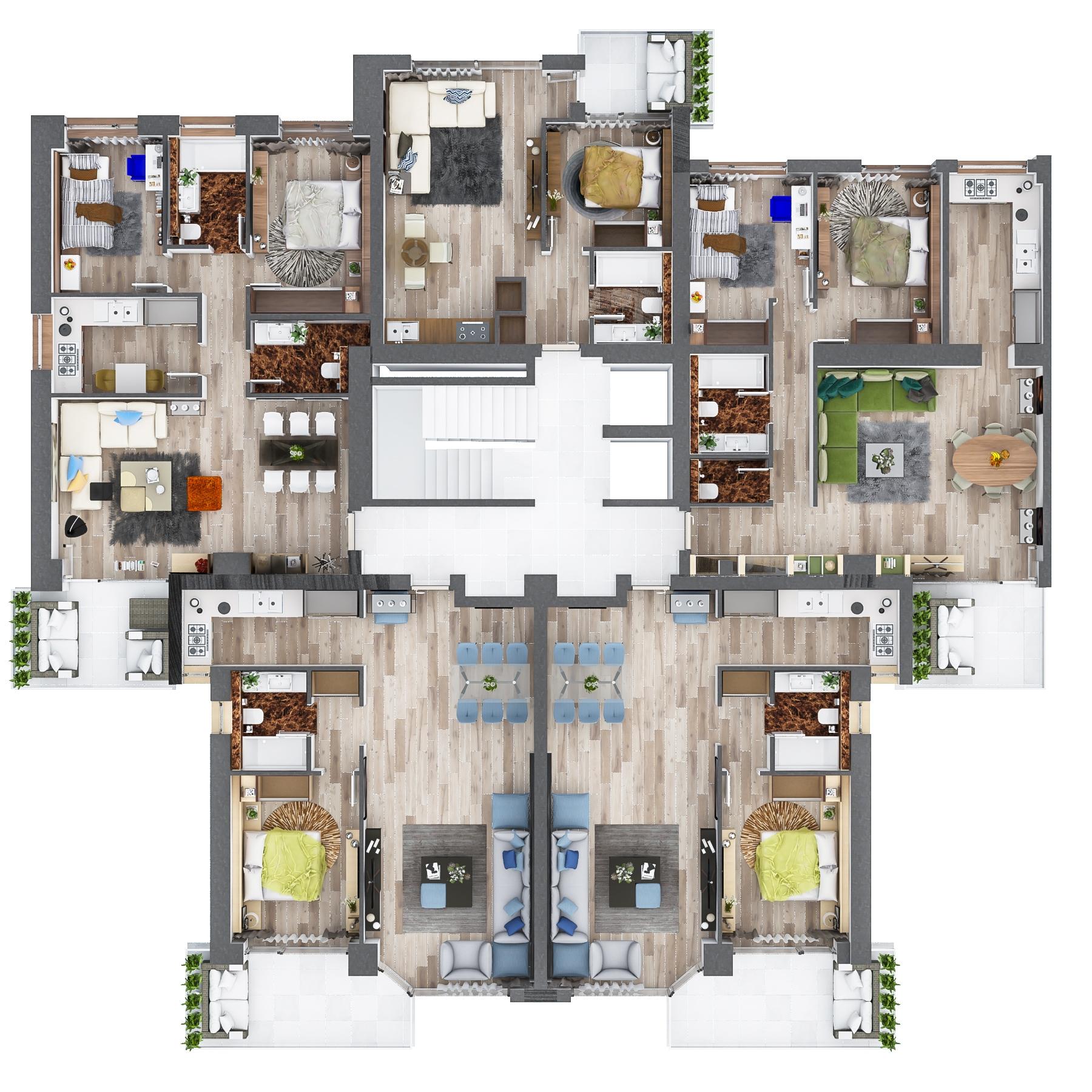 Floreasca Residence din Bucuresti sunt de vanzare apartamente cu 1, 2, 3 camere si penthous-uri