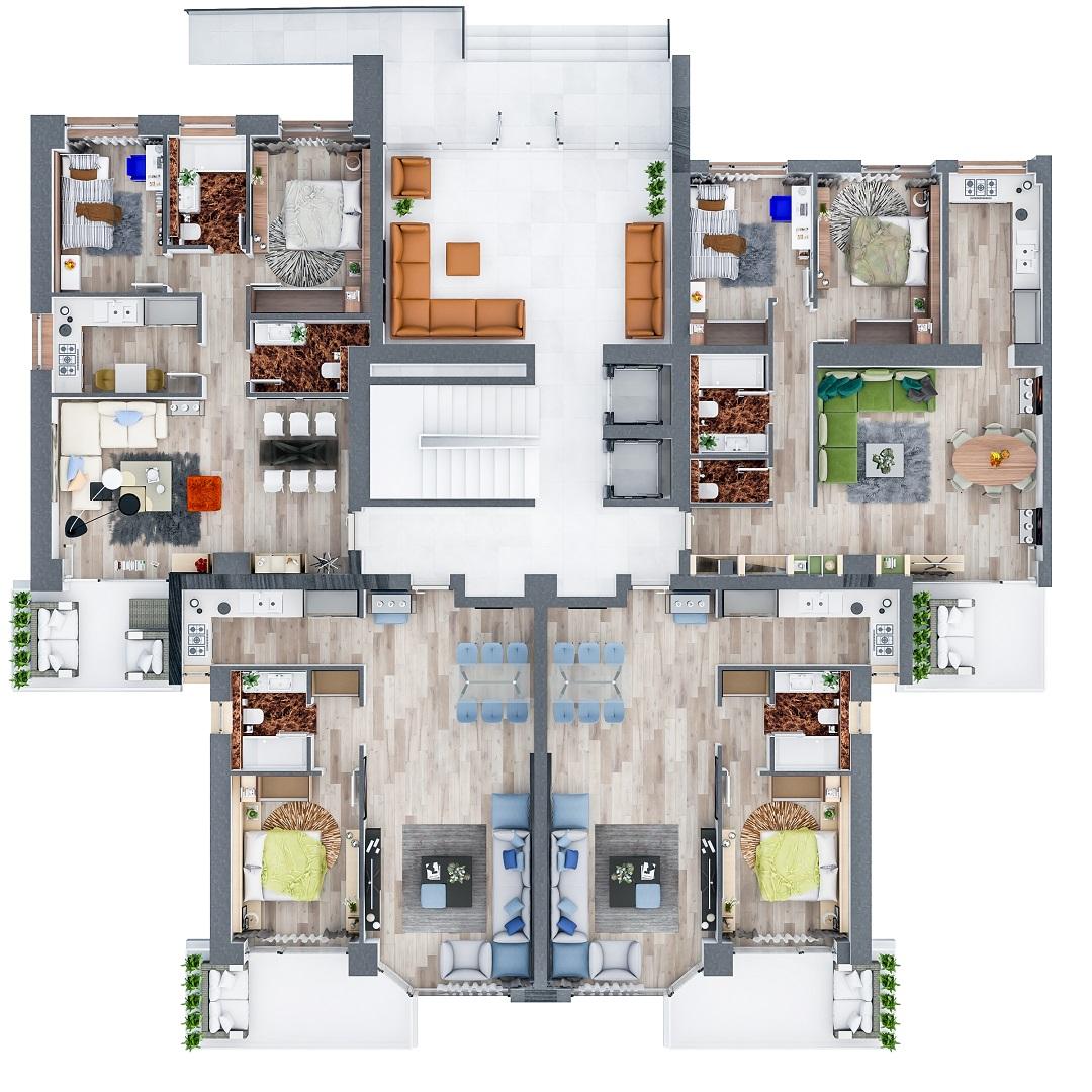 Plan apartamente Parter in Floreasca Residence din Bucuresti